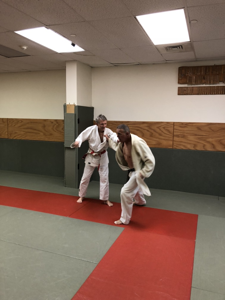 Two old coaches Angle & Candito having a go at randori (free practice).